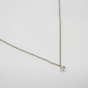 18 Karat White Gold Mounted Necklace with 1 Aero Pierced Round Cut Diamond weighing 0.31ct