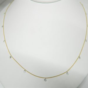 "18 Karat Yellow Gold Mounted 30.5"" Necklace with 20 Round Cut Diamonds weighing 3.18cts."