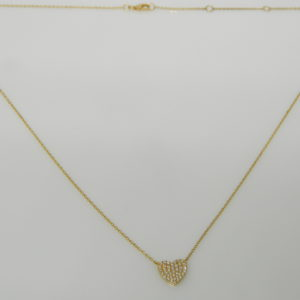 """14 Karat Yellow Gold Mounted 18"""" Heart Necklace with 40 Round Cut Diamonds weighing 0.19cts"""