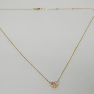 """14 Karat Rose Gold Mounted 18"""" Heart Necklace with 40 Round Cut Diamonds weighing 0.19cts"""