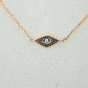 14 Karat Rose Gold Straight Line Mounted Evil Eye Bracelet
