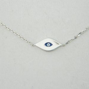 14 Karat White Gold Straight Line Mounted Evil Eye Bracelet