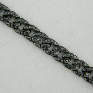 18 Karat White Gold Straight Line Mounted 7.5'' Bracelet with 315 Black Round Diamonds weighing 1.82cts