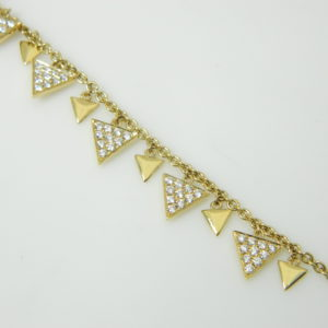 18 Karat Yellow Gold Straight Line Triangles Mounted 7.5'' Bracelet with 99 Round Cut Diamonds weighing 1.09cts tw.