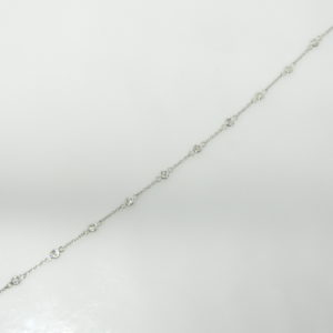 14 Karat White Gold Straight Line Mounted Bracelet with 10 Round Cut diamonds weighing 0.25cts