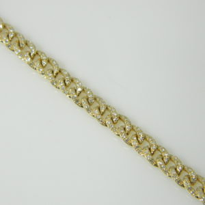14 Karat Yellow Gold Straight Line Mounted 7.5'' Bracelet with 438 Round Cut Diamonds weighing 1.53cts.