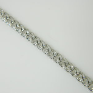 14 Karat White Gold Straight Line Mounted 7'' Bracelet with 414 Round Cut Diamonds weighing 1.52cts