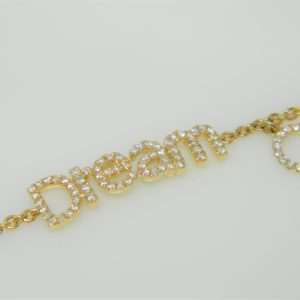 "18 Karat Yellow Gold Straight Line Mounted ""DREAM"" 7.5""  Bracelet with 81 Round Cut Diamonds weighing 0.42cts"
