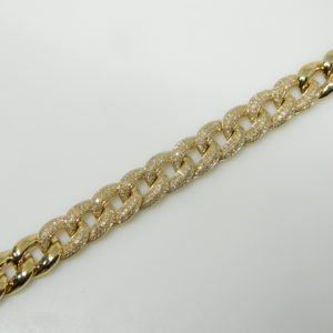 "14 Karat Yellow Gold Straight Line Mounted 7"" Bracelet with 520 Round Cut Diamonds weighing 1.19cts"
