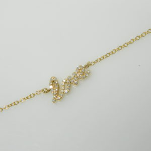 14 Karat Yellow Gold Straight Line Mounted Bracelet with 36 Round Cut Diamonds weighing 0.07cts. .
