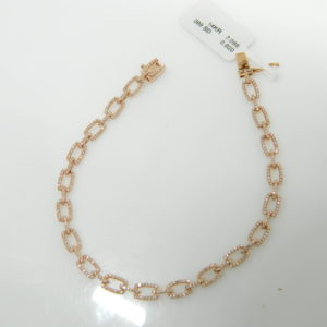 "14 Karat Rose Gold Straight Line Mounted 7"" Bracelet with 399 Round Cut Diamonds weighing 0.92cts"