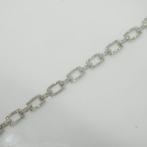 "14 Karat White Gold Straight Line Mounted 7"" Bracelet with 399 Round Cut DIamonds weighing 0.91cts"