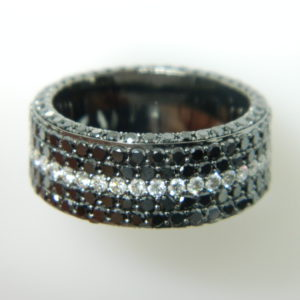 14 Karat White Gold Band Mounted Ring with Round Cut Black Diamonds weighing 5.25cts & Round Cut Diamonds weighing 0.90cts - Size 10