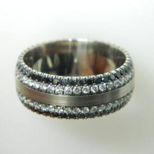 14 Karat White Gold Band Mounted Ring with Round Cut Black Diamonds weighing 1.36cts and Round Cut Diamonds weighing 1.32cts - Size 10