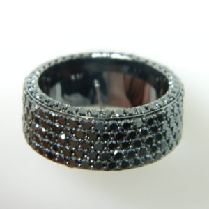 14 Karat White Gold Band Mounted Ring with Round Cut Black Diamonds weighing 7.00cts - Size 10