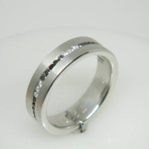 14 Karat White Gold Band Mounted Ring with Round Cut Diamonds weighing 0.20ct and Round Cut Black Diamonds weighing 0.38ct- Size 10