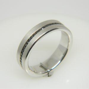 14 Karat White Gold Band Mounted Ring with Black Diamonds weighing 0.60ct- Size 10