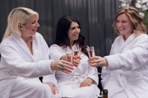 wine glass all poured at a spa party