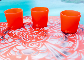 Orange Rock Glasses at the pool