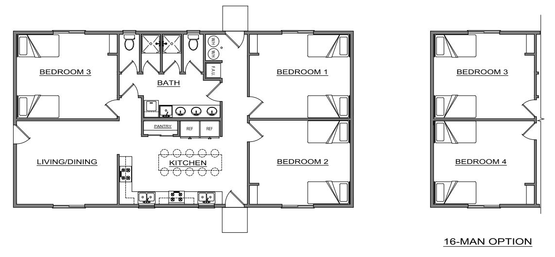 The 12/16 Man Bunk House | Worker Housing on boarding house plans, bank house plans, bunkhouse house plans, main house plans, small house plans, love house plans, pool house plans, beach shack plans, cowboy bunkhouse plans, head house plans, burke house plans, guest house plans, bear house plans, hotel plans, loft house plans, canopy house plans, united states house plans, house house plans, burgess house plans,