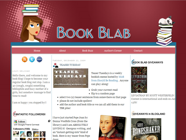 Book Blab Blogger Design After Screenshot