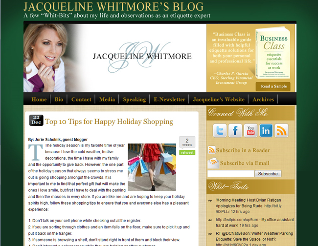 Jacqueline Whitmore Custom WordPress Blog Design
