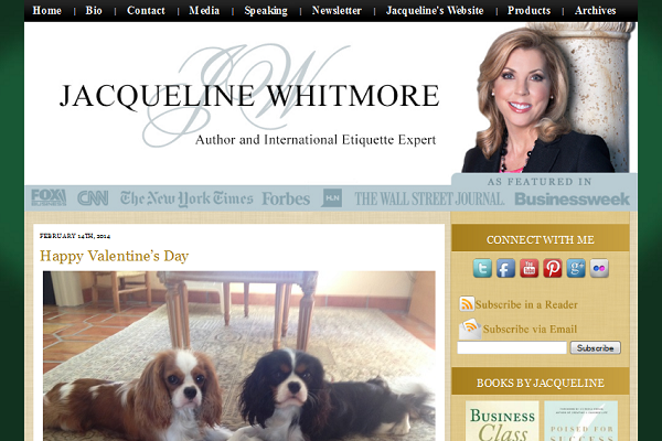 Jacqueline Whitmore etiquette expert blog design by Simply Amusing Designs