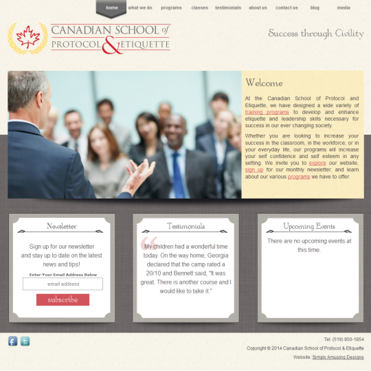 Canadian School of Protocol Website