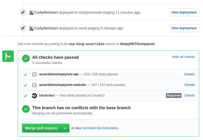 SimplyRETS Assertible GitHub status checks