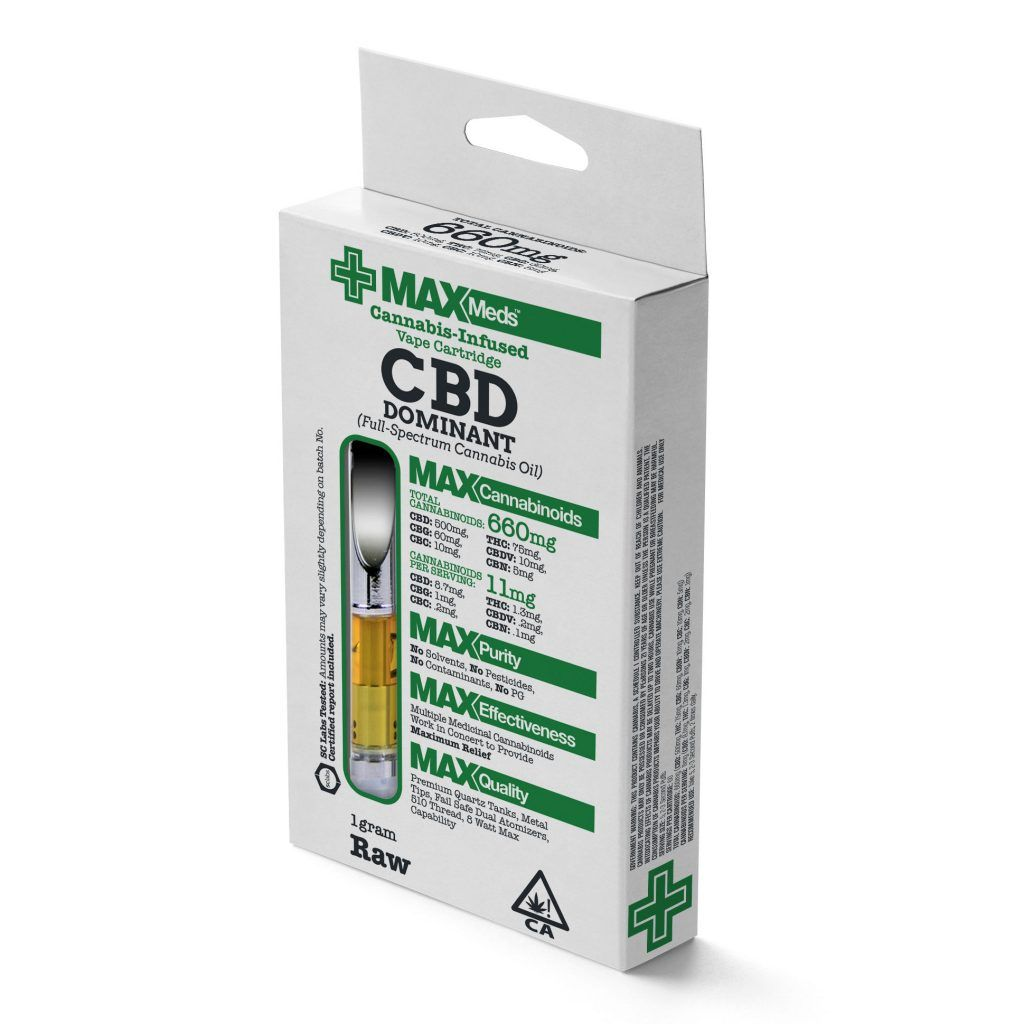 MaxMeds CBD Dominant Catridges (Full-Spectrum Cannabis Oil) -Raw Flavored