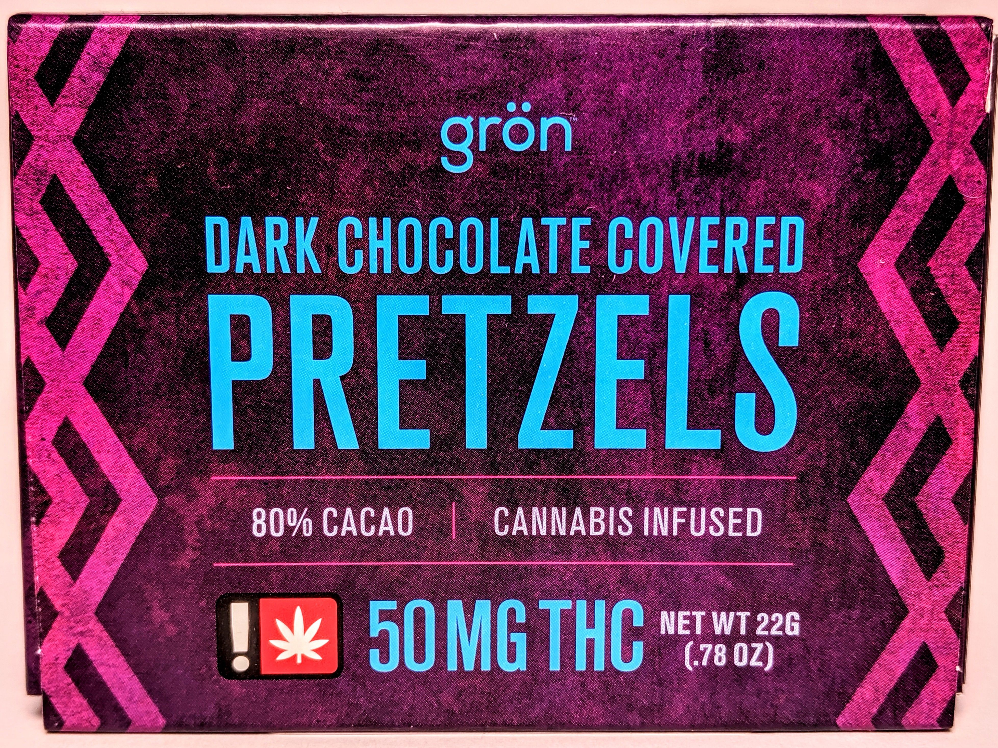 Grön - Dark Chocolate Covered Pretzels with THC