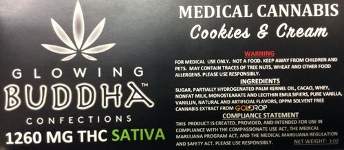 Cookies and Cream 1260mg bar (Indica) by Glowing Buddha Confections