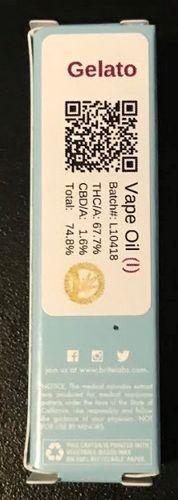 Brite Labs Gelato .5 cart 67.7% THC