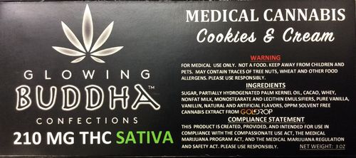 Cookies and Cream 210mg Bar (Sativa) by Glowing Buddha Confections