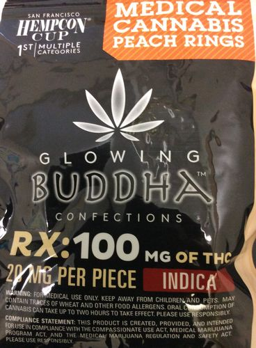 Glowing Buddha Confections Peach Rings 100mg Indica