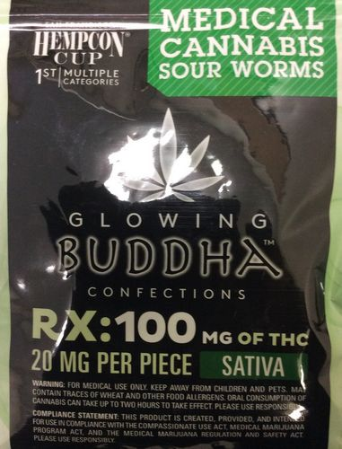 Glowing Buddha Confections Sour Worms 100mg Sativa