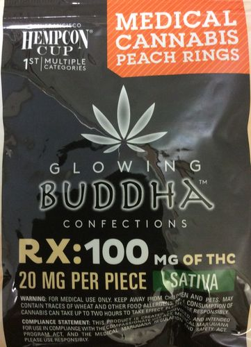 Glowing Buddha Confections Peach Rings 100mg Sativa
