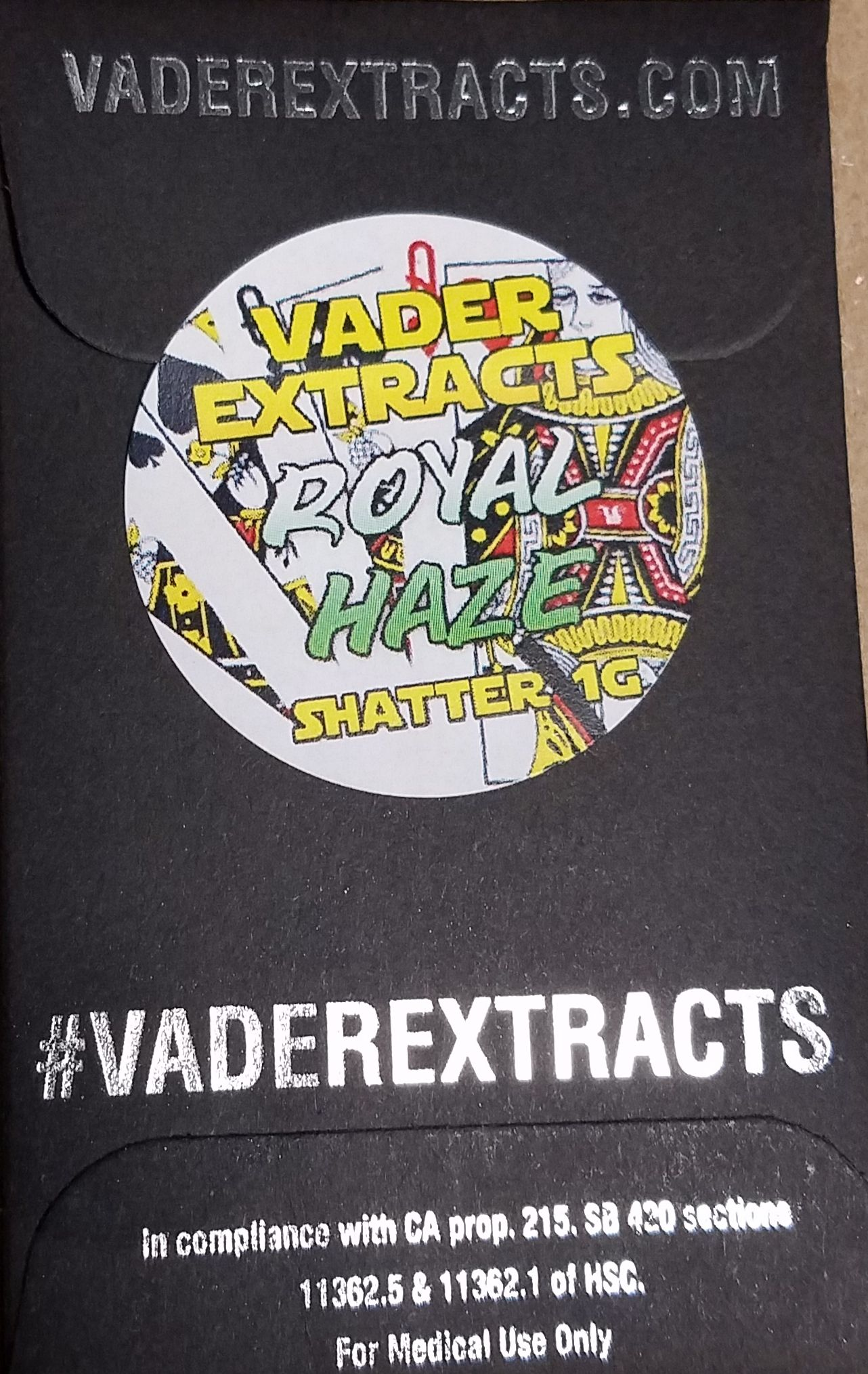 Vader Extracts- Royal Haze Shatter 1g