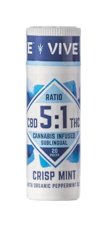 Vive Crisp Mint Sublingual - 5mg:1mg CBD-THC Ratio