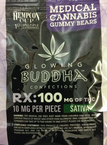 Glowing Buddha Confections Gummy Bears 100mg Sativa