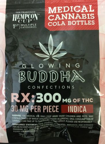 Glowing Buddha Confections Cola Bottles 300mg Indica
