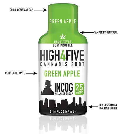HIGH4FIVE Green Apple Cannabis Shot 25mg
