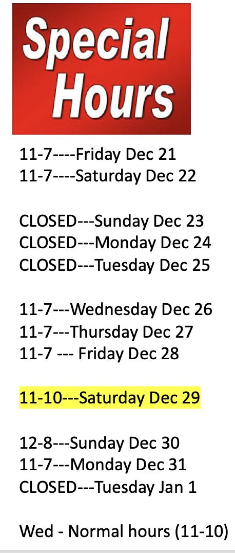 Holiday Limited Hours