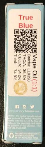 Brite Labs True Blue .5 cart 1:1 CBD/THC