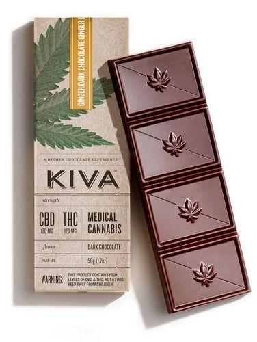 Kiva - Ginger CBD Dark Chocolate Bar