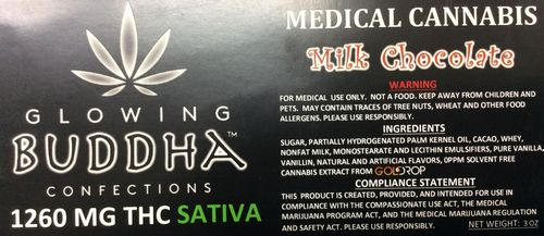 Milk Chocolate Bar 1260mg Sativa by Glowing Buddha Confections