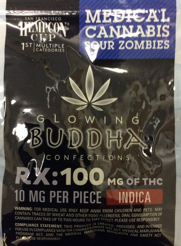Glowing Buddha Confections  Sour Zombies 100mg Indica