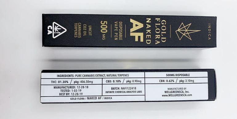 Gold Flora - Naked AF (Indica) - 500mg Disposable Pen