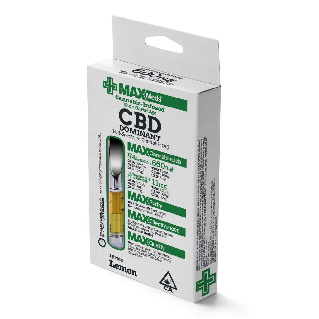 MaxMeds CBD Dominant Catridges (Full-Spectrum Cannabis Oil) - Lemon Flavored