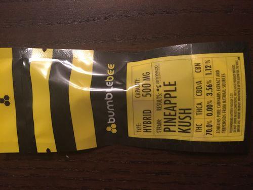 Bumblebee .5 ml Pineapple Kush Hybrid Connoisseur Cartridge 70.9% THC!!!